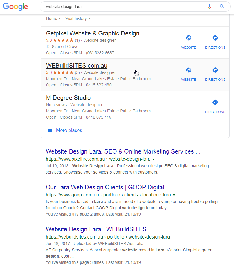 Online business displayed in Google Locals Listing