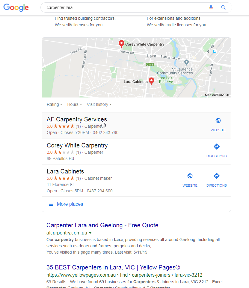 Local business displayed in Google Locals Listing